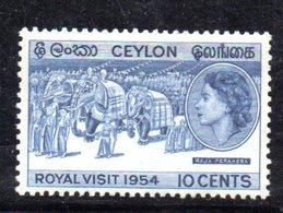 T508 - CEYLON SRI LANKA 1954 , Yvert N. 291  ***  MNH  Royal Visit - Sri Lanka (Ceylon) (1948-...)
