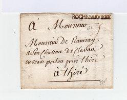 Sur Lettre Marque Postale Rocheservière. Adressé à Monsieur De Ramisay à Thiré (768) - Marcophilie (Lettres)