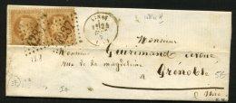 ISERE: Pli Avec 10c EMPIRE Lauré X2Oblt Los G C 4287 + CàDate T 15 De VINAY (37)  > GRENOBLE - 1849-1876: Classic Period