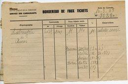 RATIONNEMENT BORDEREAU DE FAUX TICKETS DE CARBURANT AUTO GIRONDE AUROS 1948 - Historical Documents