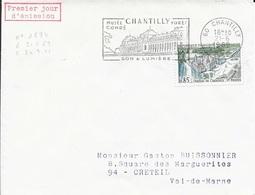 OISE 60 -  CHANTILLY - CHANTILLY  MUSEE CONDE FORET SON ET LUMIERE -  TP N° 1584=FLAMME  1ER JOUR  - 1969 - Mechanische Stempels (reclame)