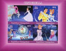 Madagascar 2018 MNH Cinderella 4v IMPF M/S Disney Cartoons Animation Stamps - Disney