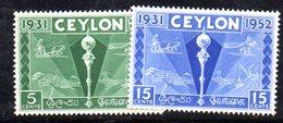 T522 - CEYLON SRI LANKA 1952 , Yvert N. 288/289  ***  MNH - Sri Lanka (Ceylon) (1948-...)