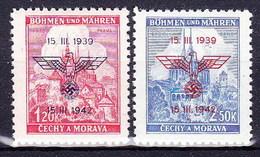 Boheme Et Moravie 1942 Mi  83-4 (Yv 76 A+B), (MNH)** - Unused Stamps