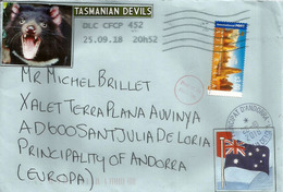 The Pinnacles - Tasmanian Devils, Lettre Adressée Andorra, Avec Timbre à Date Arrivée - 2010-... Elizabeth II