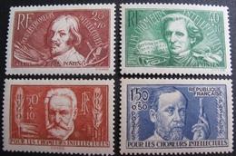 R1692/160 - 1936 - AU PROFIT DES CHÔMEURS INTELLECTUELS - N°330 à 333 NEUFS** - Cote : 75,00 € - Frankreich