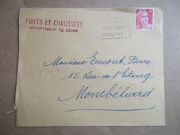 Enveloppe Avec Entête - Ponts Et Chaussées - Département Du Doubs - Flamme - Croix Rouge Française - Postmark Collection (Covers)