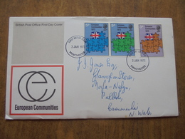 S042: FDC: EUROPEAN COMMUNITIES. BRITISH POST OFFICE FIRST DAY COVER. 3p, 5p, 5p, 3 JAN 1973 Manchester. - FDC