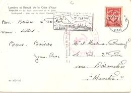 France 1963 - Franchise Militaire Sur CP De Toulon à Avranches - Cachet Marine Nationale - Flamme Toulon - Téléphérique - Franchise Militaire (timbres)