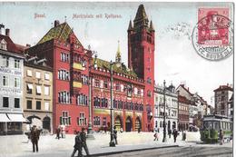 BASEL → Marktplatz Mit Rathaus, Tram Und Vielen Passanten Anno 1908 - BS Bâle-Ville