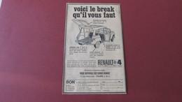 RENAULT 4 - REGIE NATIONALE DES USINES RENAULT à TOURS - LE BREAK QU'IL VOUS FAUT - PUBLICITE DE 1965. - Werbung