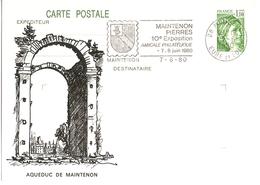 France 1980 - CP Sabine 1.10Fvert - Aqueduc De Maintenon (en Relief) - Flamme Amicale Philatélique Maintenon Pierres - Entiers Postaux