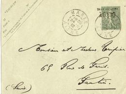 France 1912 - Entier Postal, Devant D'enveloppe - Semeuse 15c Surchargé Taxe Réduite - De Marle à Pantin - Enveloppes Types Et TSC (avant 1995)