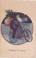 537/ Gelukkig Kerstfeest, Kerstman Op De Fiets - Kerstman