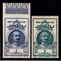 COTE FRANCAISE DES SOMALIS - N° 184 -1938- 1F40 EN ESSAI BLEU NON DENTELE - BORD DE FEUILLE - LUXE. - Côte Française Des Somalis (1894-1967)