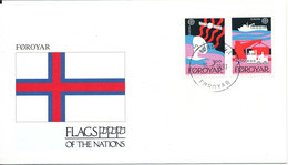 Faroe Islands Cover 16-6-1991 Flag Of The Nations With Complete Set EUROPA CEPT 1988 With Cachet - Faroe Islands