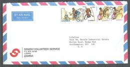 USED AIR MAIL COVER ZAMBIA TO ENGLAND - Zambia (1965-...)