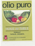 H 39 - ETIQUETTE  HUILE  DE TABLE  OLIO PURO  RUBSAAT TAFELOLSPEISEOL - Labels