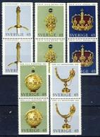 +G2046. Sweden 1971. Crown Regals. 6 Pairs. Michel 723-27. MNH(**) - Suède