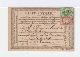 Carte Poste. Deux Timbres Type Céres 10 C. Vert Jaune Et 10 C. Brun Rose. CAD Bordeaux 1876. (770) - Marcophilie (Lettres)