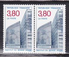 """N° 2645 L'Institut Du Monde Arabe: Institut Et """"Tour Des Livres"""": Une Paire De 2 Timbres Neuf Impeccable - France"""