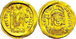 Justinianus I., 527-565, Solidus (4,38g), Konstantinopel. Av: Büste Mit Kreuzglobus Von Vorn, Darum Umschrift. Rev: Steh - Byzantines