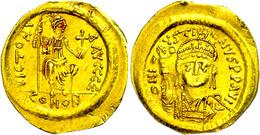 Justinus II., 565-578, Solidus (4,07g), Konstantinopel. Av: Brustbild Mit Victoria Und Schild Von Vorn, Darum Umschrift. - Byzantines