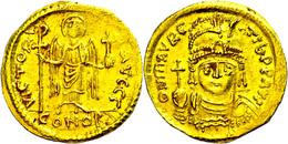 Mauricius Tiberius, Solidus (4,46g), 582-602, Konstantinopel. Av: Brustbild Mit Kreuz Von Vorn, Darum Umschrift. Rev: St - Byzantines
