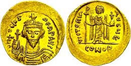 Phocas, 602-610, Solidus (4,45g), Konstantinopel. Av: Brustbild Mit Kreuzglobus Von Vorn, Darum Umschrift. Rev: Stehende - Byzantines