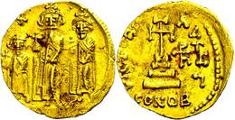 Heraclius, 610-641, Solidus (4,49g), Konstantinopel. Av: Heraclius Zwischen Heraclius Constantin Und Heraclonas Von Vorn - Byzantines