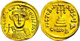 Constans II., 641-668, Solidus (4,39g), Konstantinopel. Av: Büste Von Vorn, Darum Umschrift. Rev: Krückenkreuz Auf Drei  - Byzantines