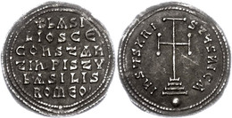 Basilus I., 867-886, Miliaresion (2,86g), Konstantinopel. Av: Krückenkreuz Auf Drei Stufen. Rev: 6 Zeilen Schrift. Sear  - Byzantines