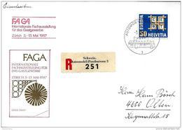 """89 - 100 -  Enveloppe Recommandée Avec Oblit Spéciale """"FAGA Zürich 1967"""" - Marcophilie"""
