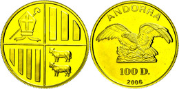 100 Diners, Gold, 2006, Av: Adler Auf Felsen, Rev: Wappen Mit Mitra Und Bischofsstab, 1 Oz, KM 298, Im Originaletui Mit  - Andorra