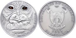 1.000 Francs, 2012, Cross River Gorilla, 1 Unze Silber, Antik Finish, Etui Mit OVP Und Zertifikat, St. Auflage Nur 1.000 - Cameroon