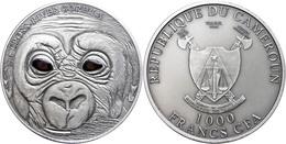 1.000 Francs, 2013, Baby Gorilla, 1 Unze Silber, Antik Finish, Real Eye Effect, Etui Mit OVP Und Zertifikat, St. Auflage - Cameroon