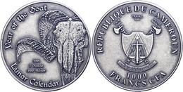 2.000 Francs, 2015, Lunar - Jahr Der Ziege, 1 Unze Silber, Antik Finish, In Kapsel, St  St - Cameroon