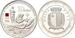 10 Euro, 2014, 100 Jahre I. Weltkrieg, Mit Zertifikat In Ausgabeschatulle, Fingerabdruck, PP.  PP - Malta