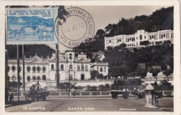 BRESIL  :  SANTOS  :  Carte Photo  Santa Casa  Avec Vignette - São Paulo