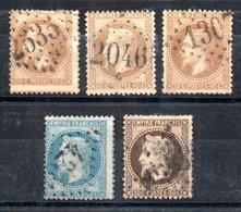 France Frankreich Y&T 28A(I)°, 28B(II)°, 28Ba(II)°, 29B(II)°, 30° - 1862 Napoleon III