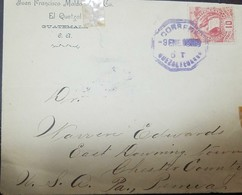 O) 1886 APROX. GUATEMALA, NATIONAL EMBLEM SCOTT 34 10c Red, FROM QUETZALTENANGO, XF - Guatemala