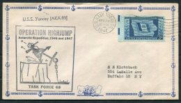 1947 USA Operation Highjump Antarctic Polar Expedition. USS Yancey US Navy Ship Cover - Antarctic Expeditions