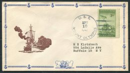 1947 USA Operation Highjump Antarctic Polar Expedition. USS Mount Olympus US Navy Ship Cover - Antarctic Expeditions