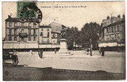 26 - B26153CPA - VALENCE SUR DROME - Cour De La Gare Et Statue De Bancel - Très Bon état - DROME - Valence