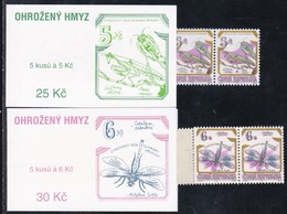 1995,  Tschechische Republik,Ceska, 74/75 MH 0-27/28, Naturschutzjahr: Geschützte Insekten. MNH **, Booklet. - Tschechische Republik