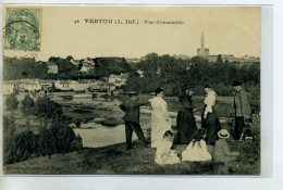 44-01 VERTOU Carte Rare Groupe De Touristes En Promenade Vue D'ensemble Du Village 1906 Timb    /D3E-2014 - France