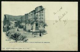 Ref 1238 - 1901 Postcard Horse Tram Bilbao Spain To J.E. Saul Hampstead London - Vizcaya (Bilbao)