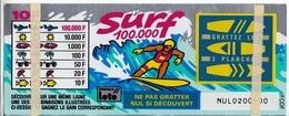 SURF 1 TICKET FRANCE LOTO FDJ GRAND SPÉCIMEN NEUF DE DÉMONSTRATION POUR VITRINE NON GRATTE 25,5X10,4cm - SITE Serbon - Lotterielose