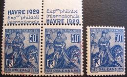 R1692/171 - 1929 - ORLEANS / JEANNE D'ARC - N°257 (I) NEUF** + (PAIRE) N°257a (I) ☉ 2 CACHETS ROUGES DE L'EXPOSITION - France