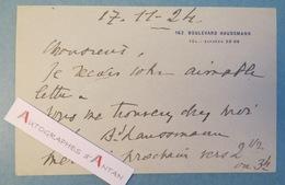 André De FOUQUIERES - 1924 - Conférencier Homme De Lettres - Carte Lettre Autographe Bd Haussmann - L.A.S Paris - Autographes